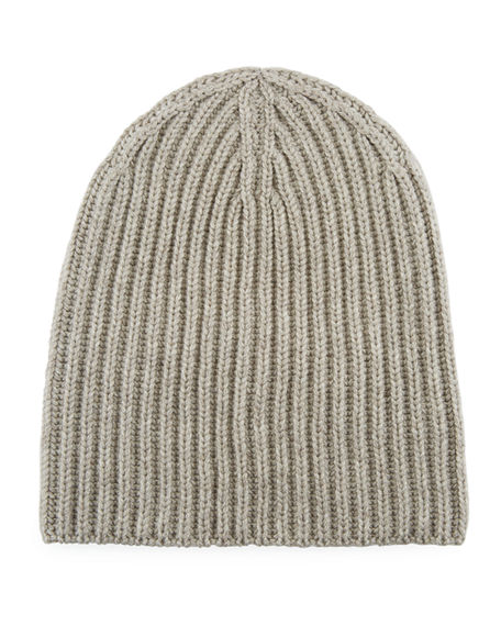 Loro Piana Men's Cashmere Rib-knit Beanie In Beige
