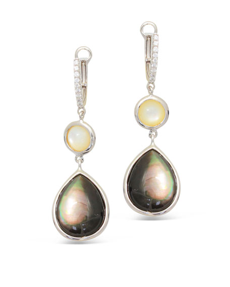Luna 18k White Gold Pink Mother Of Pearl Earrings
