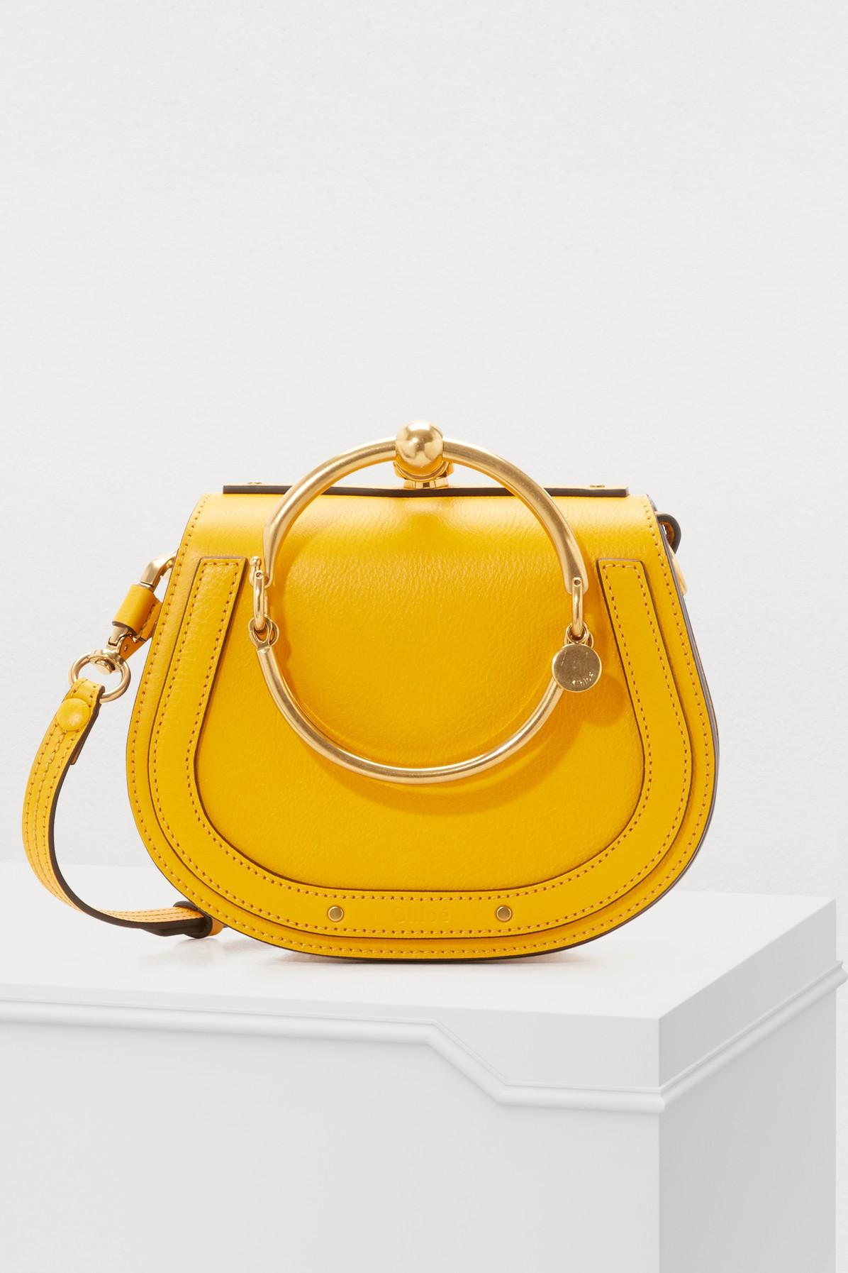 ChloÉ Small Nile Bracelet Leather Crossbody Bag In Dark Ochre