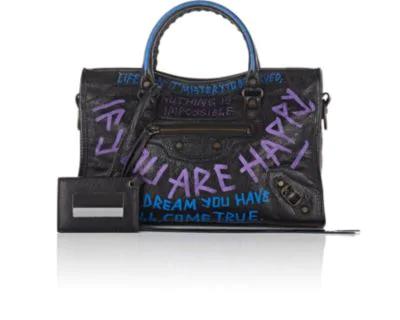 Balenciaga Metallic Edge City Small Graffiti Satchel Bag, Black Pattern