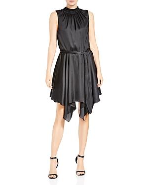 Halston Heritage Shirred Handkerchief Hem Dress In Black