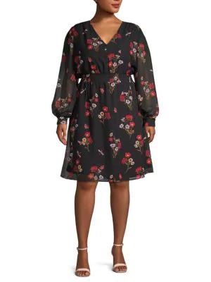 Abs By Allen Schwartz Plus Floral A-Line Dress In Utopia Print
