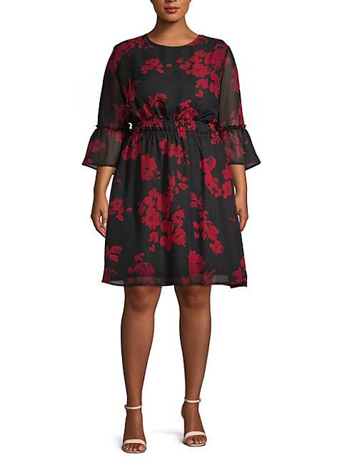 Abs By Allen Schwartz Plus Floral A-Line Dress In Abstract Floral