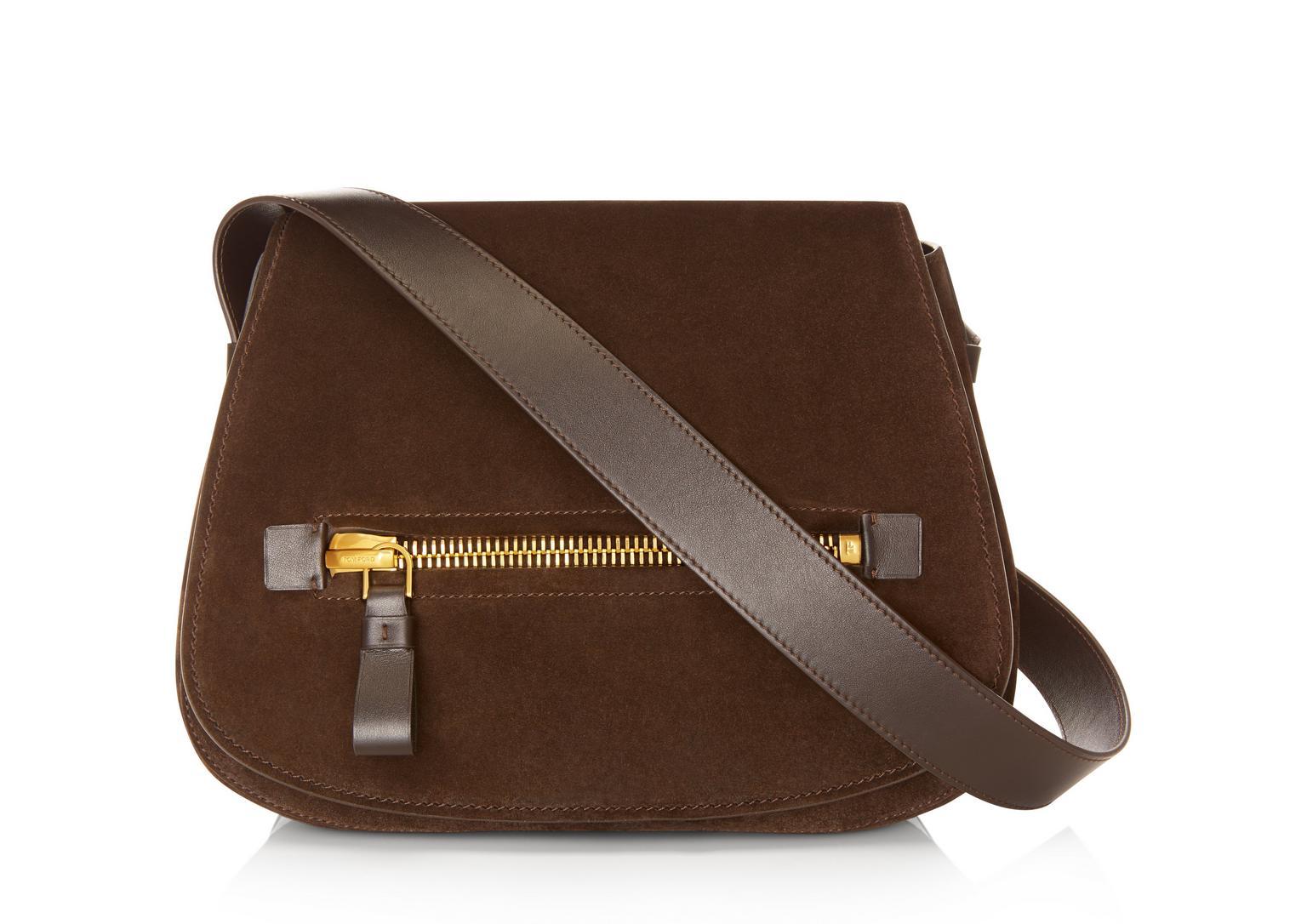 Tom Ford Jennifer Medium Suede Saddle Bag, Dark Brown