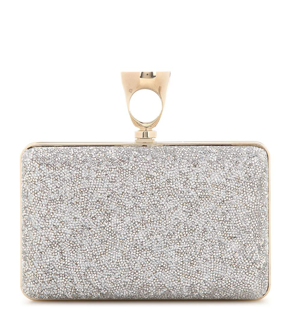 Tom Ford Ring Crystal Glass Minaudiere Clutch Bag, Graphite In Silver