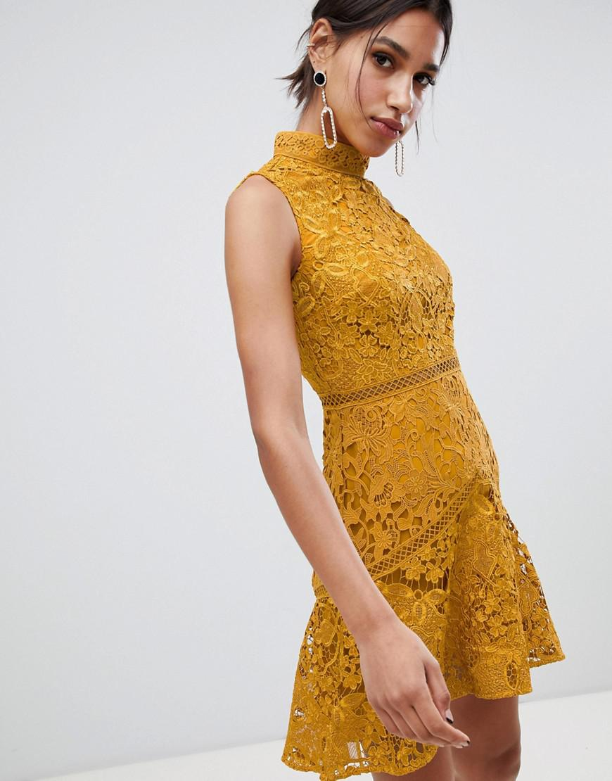 Sleeveless High Neck Lace Skater In Mustard Yellow