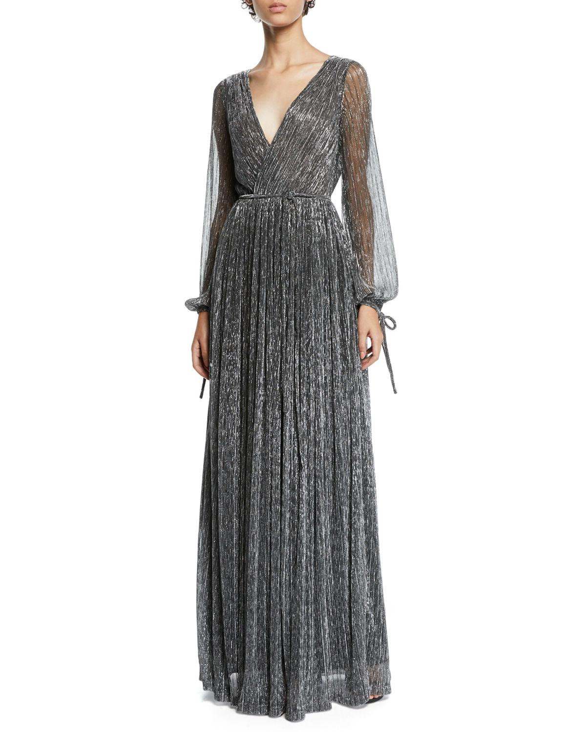 758eec609d71 Zac Zac Posen Christina Metallic Pleated Long-Sleeve Wrap Gown ...