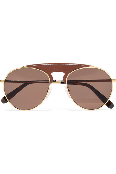 Loewe Pilot Aviator-Style Gold-Tone And Textured-Leather Sunglasses In Brown