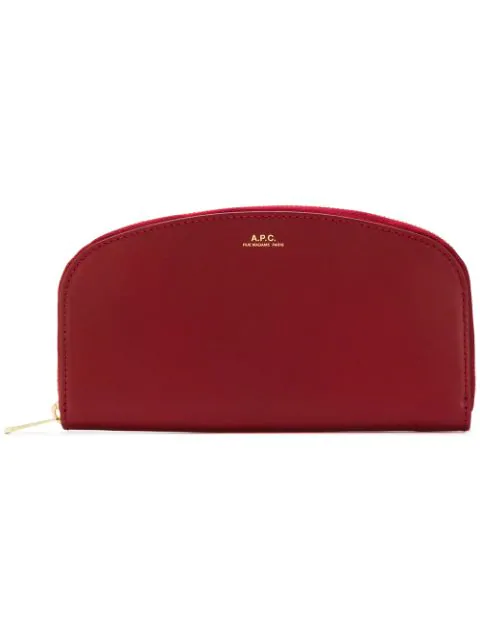 A.p.c. Half-moon Zip-around Leather Wallet In Red