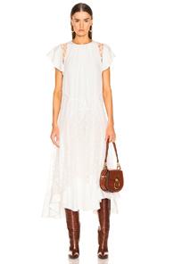 ChloÉ Asymmetric Lace-Paneled Silk Crepe De Chine Midi Dress In Iconic Milk