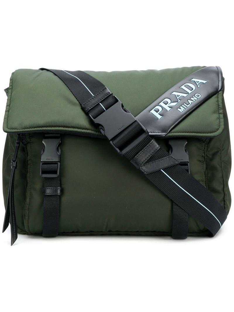 798eb85ddd185b Prada Logo Patch Shoulder Bag - Green | ModeSens