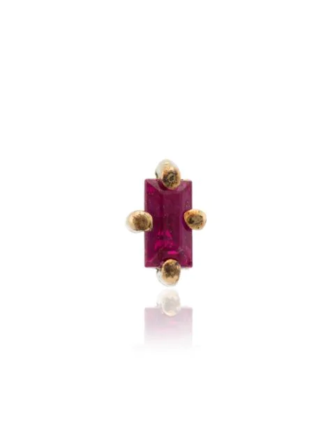 Lizzie Mandler Fine Jewelry 18k Yellow Gold Ruby Mini Stud Earring In Pink