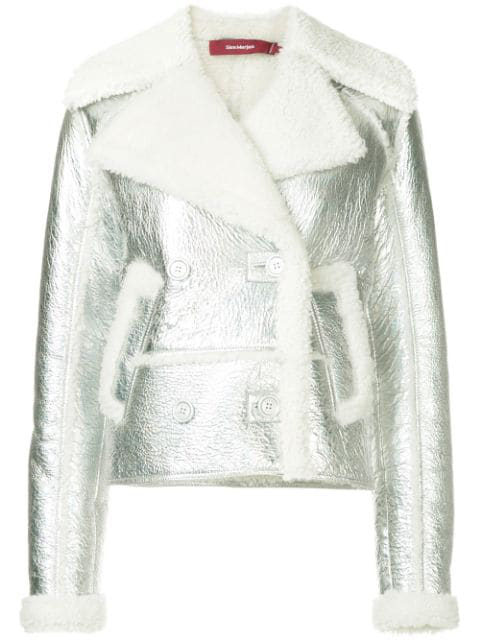 Sies Marjan Metallic Faux Shearling Biker Jacket In Metallic Silver Msilv