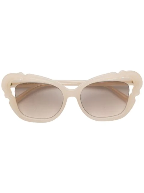 Linda Farrow Oversized Tinted Sunglasses In Sm000 Milk Pink Gold