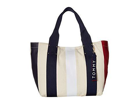 71bb83480 Tommy Hilfiger Classic Tommy Vertical Stripe Canvas Tote, Navy/Red ...