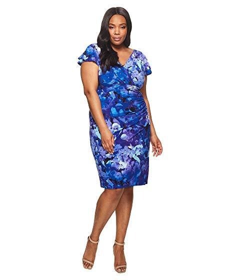 Plus Size Brisa Hortensia Floral Dress, Blue/Purple/Multi