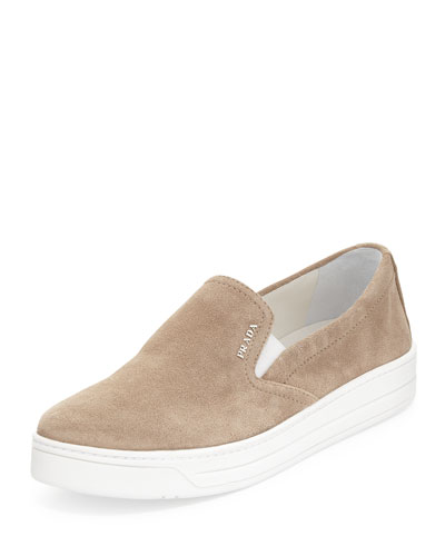 Prada Suede Laceless Sneakers In Deserto