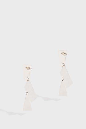 Annie Costello Brown Fragment Earrings In Silver