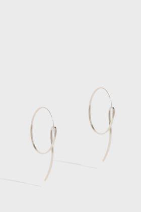 Annie Costello Brown Lasso Scroll Earrings In Silver