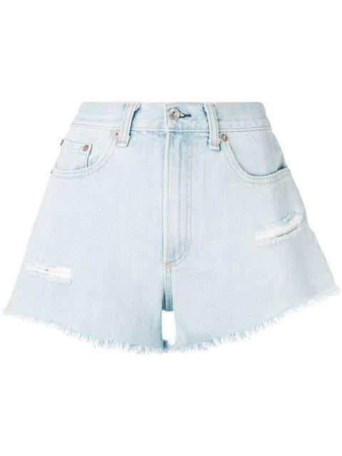 Rag & Bone Justine Distressed Denim Shorts In Blue