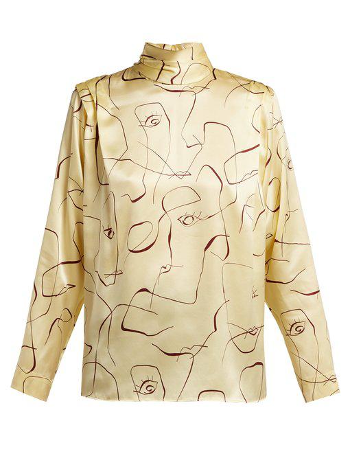2b7819e5 Roksanda Aulna Abstract-Print Silk Blouse In Yellow   ModeSens