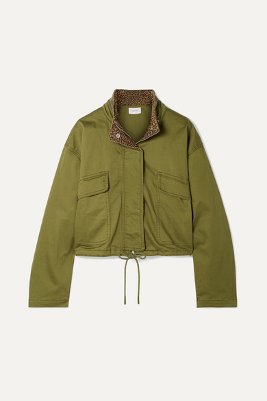 Current Elliott The Cropped Infantry Cropped Cotton-blend Jacket In Green