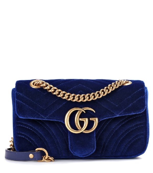 13e59f40b82 Gucci Gg Marmont Mini Quilted-Velvet Cross-Body Bag In Blue