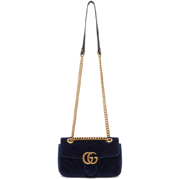 9e348ac3ad09 Gucci Medium Gg Marmont 2.0 Matelasse Velvet Shoulder Bag - Blue In 4511  Blue