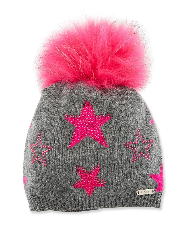 063c4fc0b8b Bari Lynn Girls  Crystal Star Studded Beanie Hat W  Fur Pompom In Gray