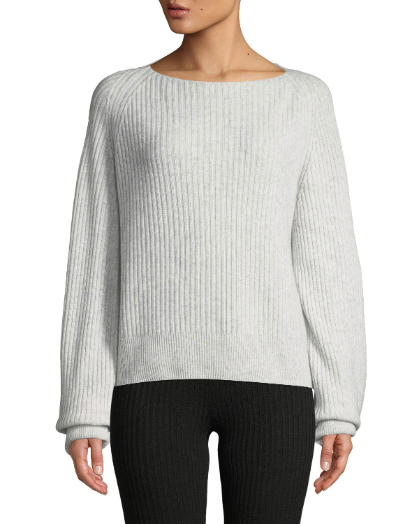 Vince Ribbed Boat-Neck Wool-Cashmere Sweater In Heather Cloud