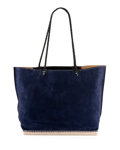 Altuzarra Espadrille Large Suede Shoulder Tote Bag In Blue