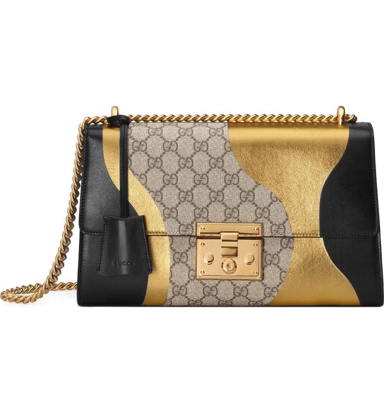 7572e1d49a6 Gucci Medium Padlock Gg Supreme Canvas   Leather Shoulder Bag - None In  Nero Oro