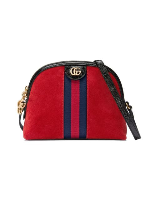 Gucci Ophidia Suede Crossbody Bag In Red