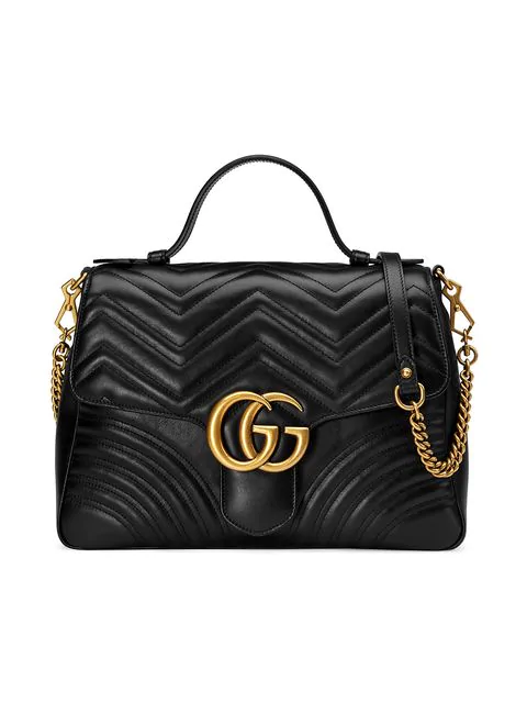 80a34fe64ab9b1 Gucci Gg Marmont Medium Chevron Quilted Top-Handle Bag With Chain Strap In  1000 Nero