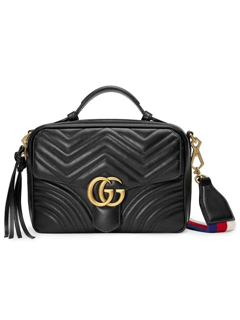 b5fb997c66936c Gucci Gg Marmont Small Chevron Quilted Leather Top-Handle Camera Bag With  Web Strap In