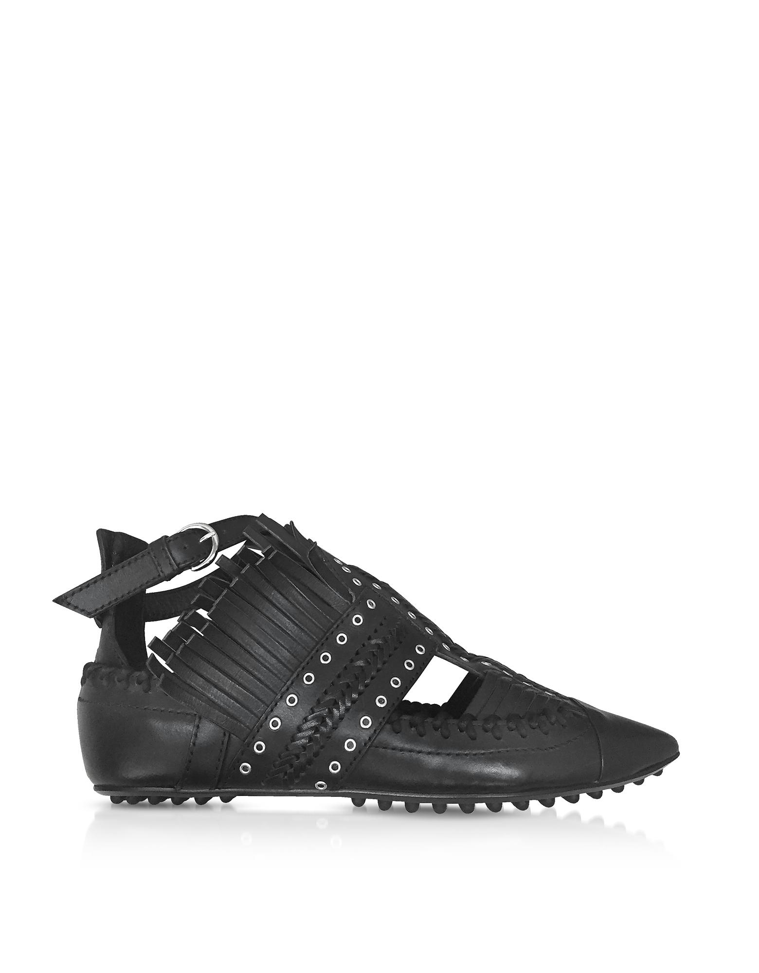 Carven Black Fringed Leather Flat Ballerinas