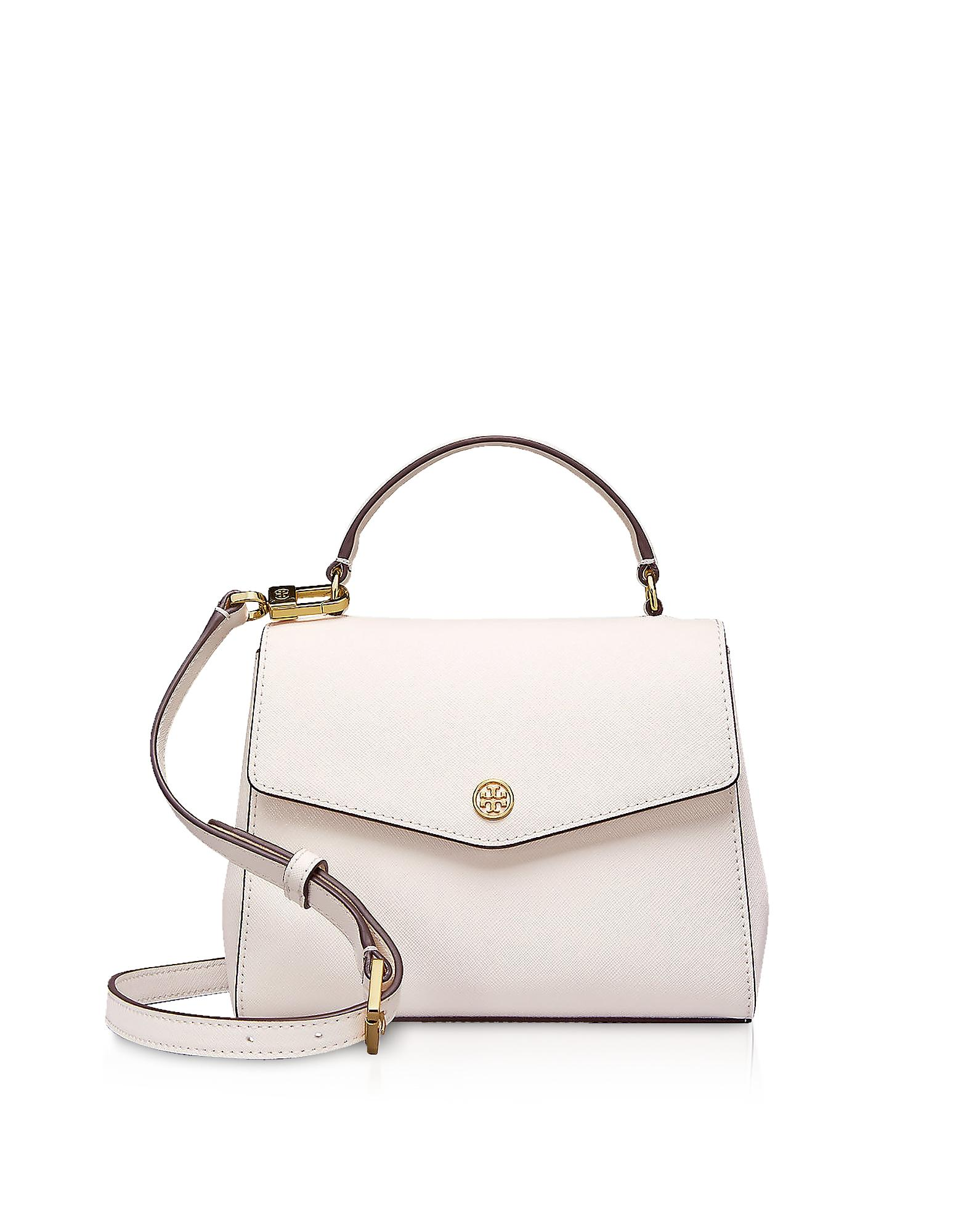 2ca2fa44eed Tory Burch Birch Leather Robinson Small Top-Handle Satchel Bag In Birch  White Gold