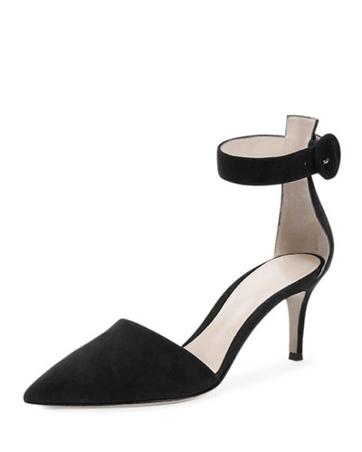 Gianvito Rossi Suede Point-Toe Ankle-Wrap Sandal In Black