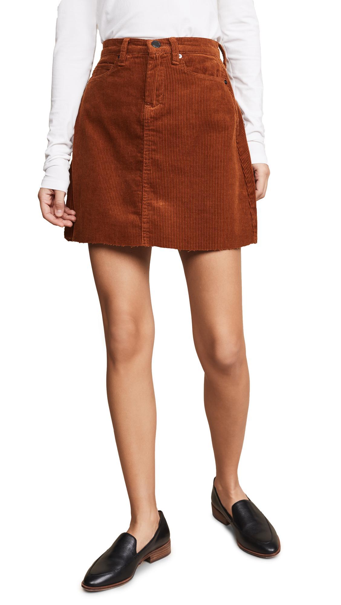 Blank Denim Corduroy Mini Skirt In Clockwork Copper