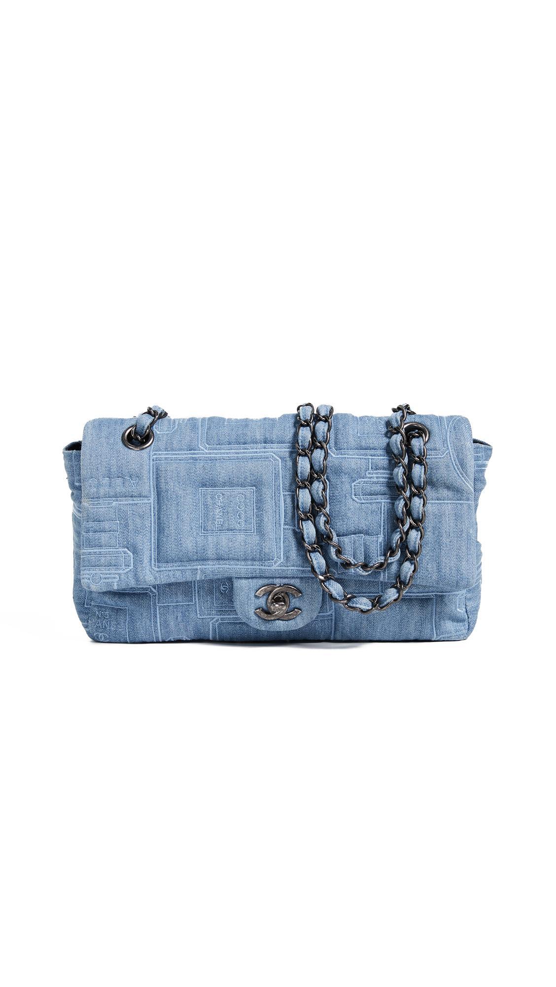 45000cd8a0dfa1 What Goes Around Comes Around Chanel Blue Denim Half Flap 10
