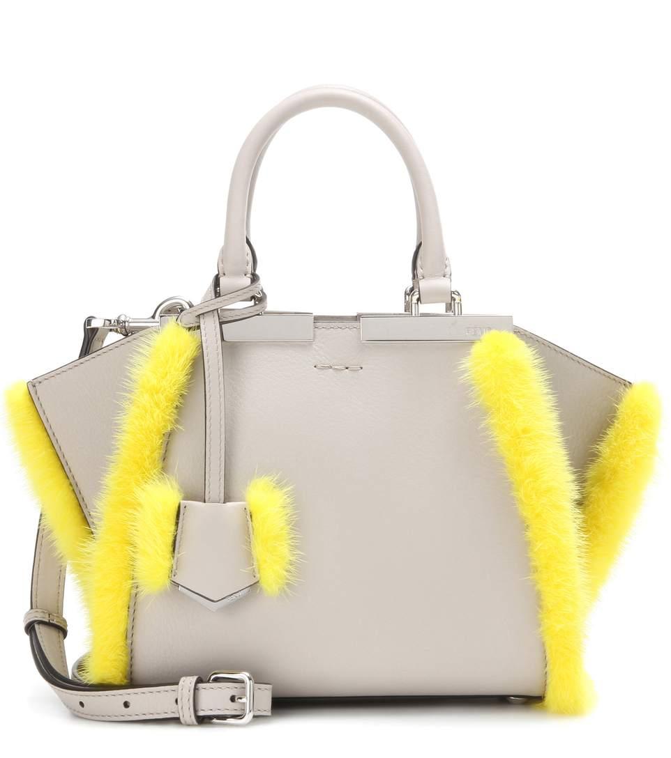 2f88e238a8d6 Fendi 3Jours Mini Fur-Trimmed Leather Tote In Grey Powder