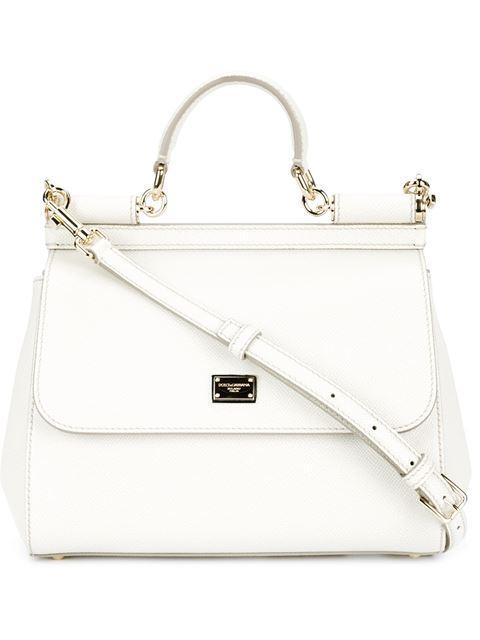 Dolce & Gabbana Medium Sicily Handbag In Dauphine Leather In Sabbia