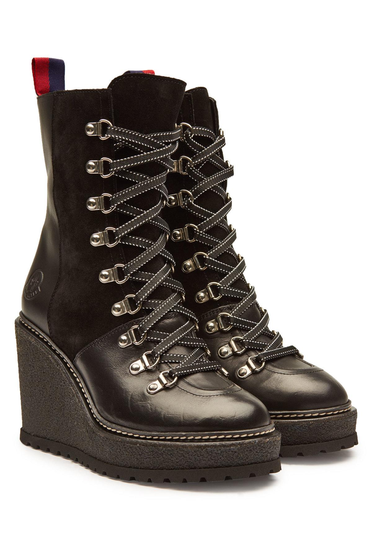 f4378eaed9cc Moncler Shanice Platform Ankle Boots With Suede And Leather In Black ...