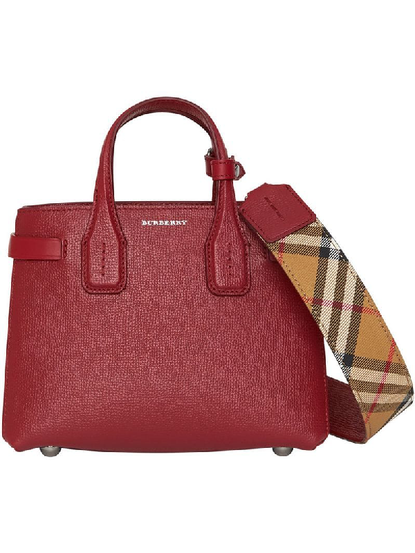 3fc3a7e9c47 Burberry The Baby Banner In Leather And Vintage Check In Red | ModeSens