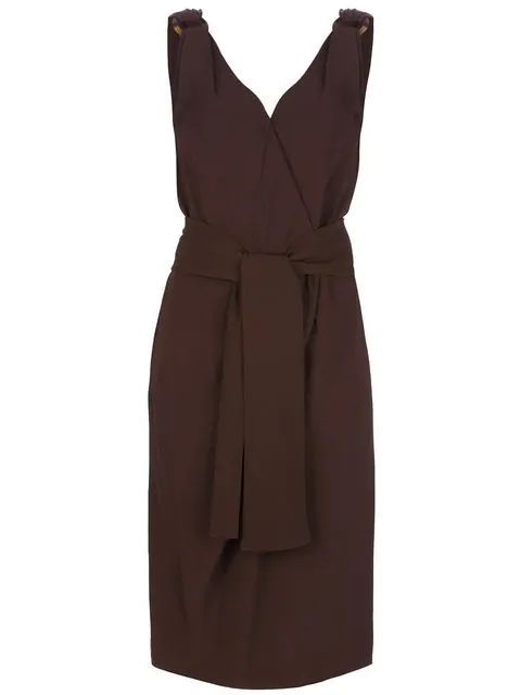 Saint Laurent Scarf Tie Dress In Brown