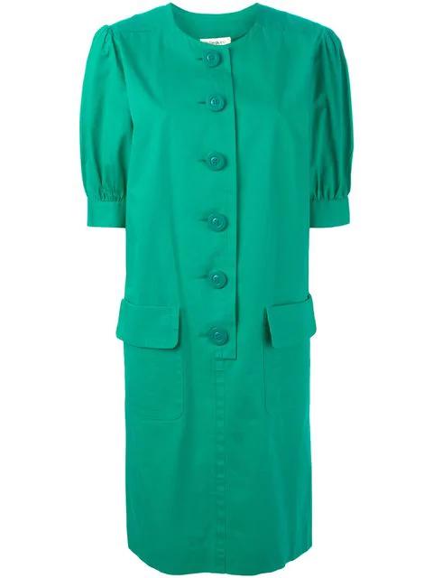 Saint Laurent Round Neck Dress In Green
