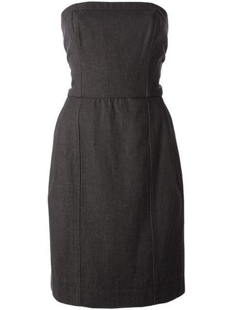 Saint Laurent Strapless Dress In Grey