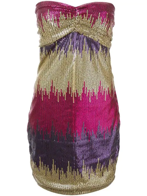 Versace Strapless Sequined Mini Dress In Pink