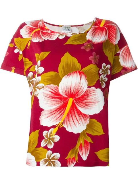 Kenzo Hibiscus Print T-shirt In Red