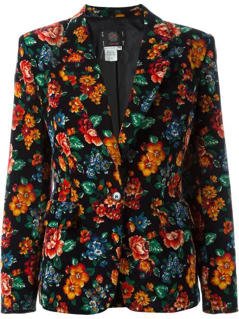 Kenzo 1980's Floral Print Blazer In Black
